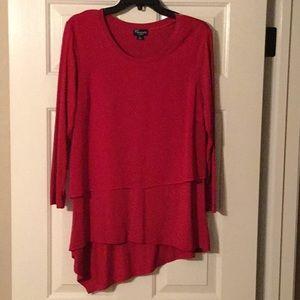 Threadz Red Long sleeve layered Blouse